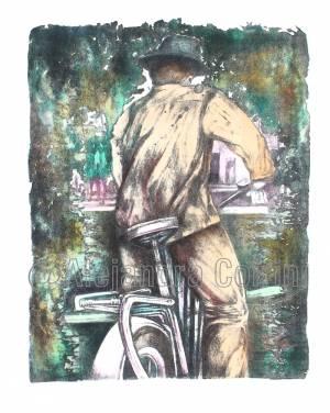Retrato de hombre en bicicleta de espalda