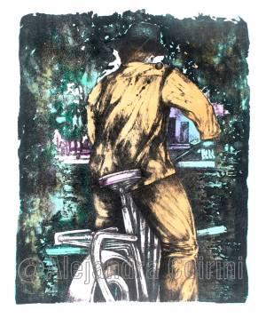 Retrato de hombre en bicicleta de espaldas