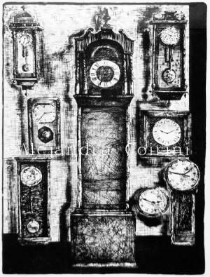 Relojes de pie en negro